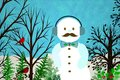 Abstract Winter Scene With Modern Snowman Royalty Free Stock Photo