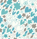 Abstract winter seamless pattern with many cute details decorative doodle background with hearts and flowers hand drawn damask Royalty Free Stock Photos