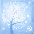 Abstract winter tree with snowflakes Stock Photos