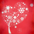 Abstract winter tree with snowflakes and gifts on red background Royalty Free Stock Images
