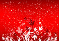 Abstract winterbackground with flakes and flowers in red color Royalty Free Stock Photography