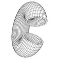 Abstract wireframe torus slice donut.