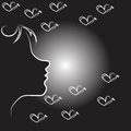 Abstract woman face with butterflies vector line art illustration Royalty Free Stock Photography