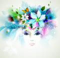 Abstract women beautiful with design elements Royalty Free Stock Image