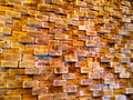 Abstract wooden wall design element an interior designer has stacked lumber together and created a very unique indoors Royalty Free Stock Photo