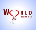 Abstract world health day concept with doctor stethoscope and stylish text on blue background vector eps i have created in Stock Images
