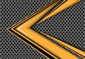 Abstract yellow arrow speed overlap on gray circle mesh design modern futuristic background vector.