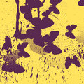 Abstract yellow background with purple butterflies vector illustration Stock Photography