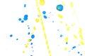 Abstract yellow blue ink splash
