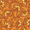 Abstract yellow flowers brown seamless background repeat pattern Stock Image