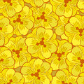 Abstract yellow flowers seamless pattern background Royalty Free Stock Photo