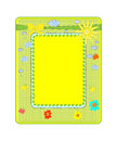 Abstract yellow frame with sun vector Stock Photography