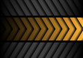 Abstract yellow gray arrow pattern black line design modern futuristic background vector. Royalty Free Stock Photo