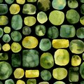Abstract yellow green round spots, seamless pattern, watercolor background Royalty Free Stock Photo