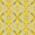 Abstract yellow seamless ornate leaves pattern background for fashion textile design with decorative Stock Images