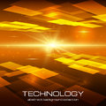 Abstract yellow technology background with bright flare vector illustration Royalty Free Stock Images