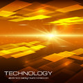 Abstract yellow technology background with bright flare vector illustration Stock Images