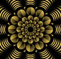 Abstract yellow vector flower patterns in fractal style on black background, high contrasting decorative tile with 3d effect
