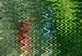 Abstract Zigzag Pattern With Waves In Blue, Green, Red Tones. Artistic Image Processing Created By Christmas Tree Toy Photo.