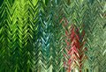 Abstract Zigzag Pattern With Waves In Blue, Green, Red Tones. Artistic Image Processing Created By Christmas Tree Toy Photo