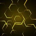Abstracte achtergrond met gele zeshoek Stock Fotografie