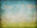 Abstracte het landschaps grunge achtergrond van de hemel en van het gras Stock Afbeelding