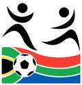 Abstracte voetballer en voetbal Stock Afbeeldingen