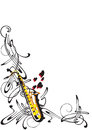 Abstraction on jazz frame with a saxophone a white background Stock Image