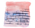 Abstraction in watercolor, brick wall