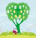 Abstrakcjonistyczny drzewo z wielkanocnymi jajkami Obraz Stock