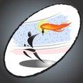 Abstrakt idrottsman nen carrying olympic torch Arkivfoton