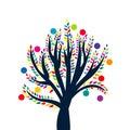 Abstrakter baum mit farbigen blättern und früchten Stockbilder