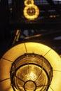 Abstruct image street industrial lamps closeup yellow fireproof lanterns close up Stock Photos