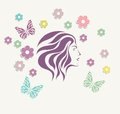 Abstrzct girl face background with flower vector Royalty Free Stock Photo