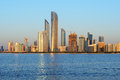 Abu Dhabi cityline at sunset Royalty Free Stock Photo