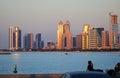 Abu Dhabi cityline at sunset Royalty Free Stock Photo