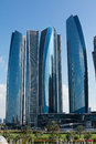 Abu dhabi etihad towers modern citu of uae Stock Photos