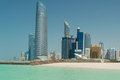 Abu dhabi skyline viewed from the sea Royalty Free Stock Photo