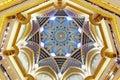 Abu Dhabi, United Arab Emirates - December 13, 2018: Beautiful ceiling of Emirates Palace in Abu Dhabi Royalty Free Stock Photo