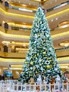 Abu Dhabi, United Arab Emirates - December 13, 2018: Decorated Christmas tree in the hall Emirate Palace