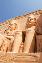 Abu simbel egypt as ancient s cathedral is made up of two large stone blocks there is a statue of the pharaoh four Royalty Free Stock Images