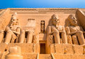 Abu simbel egypt as ancient s cathedral is made up of two large stone blocks there is a statue of the pharaoh four Royalty Free Stock Photography