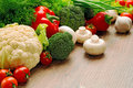 Abundance of fresh vegetables and greens Royalty Free Stock Photo