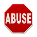 Abuse sign red stop with the word isolated on white background Stock Photo