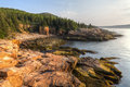 Acadia morning at monument cove the iconic sharp rocky coastline of maine in national park maine Stock Image