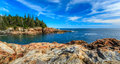 Acadia national park blue sky over the atlantic ocean Stock Image