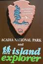 Acadia national park sign in maine bar harbor july on july reserves much of mount desert island and Stock Image