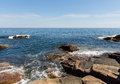Acadia shores this extremely rugged coastline is in the vicinity of the thunderhole at national park Stock Images