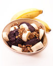 Acai bowl with bananas and granola fruit from amazon widely consumed in brazil Royalty Free Stock Photo