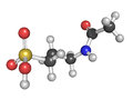 Acamprosate alcoholism treatment drug chemical structure atoms are represented as spheres with conventional color coding Stock Photography
